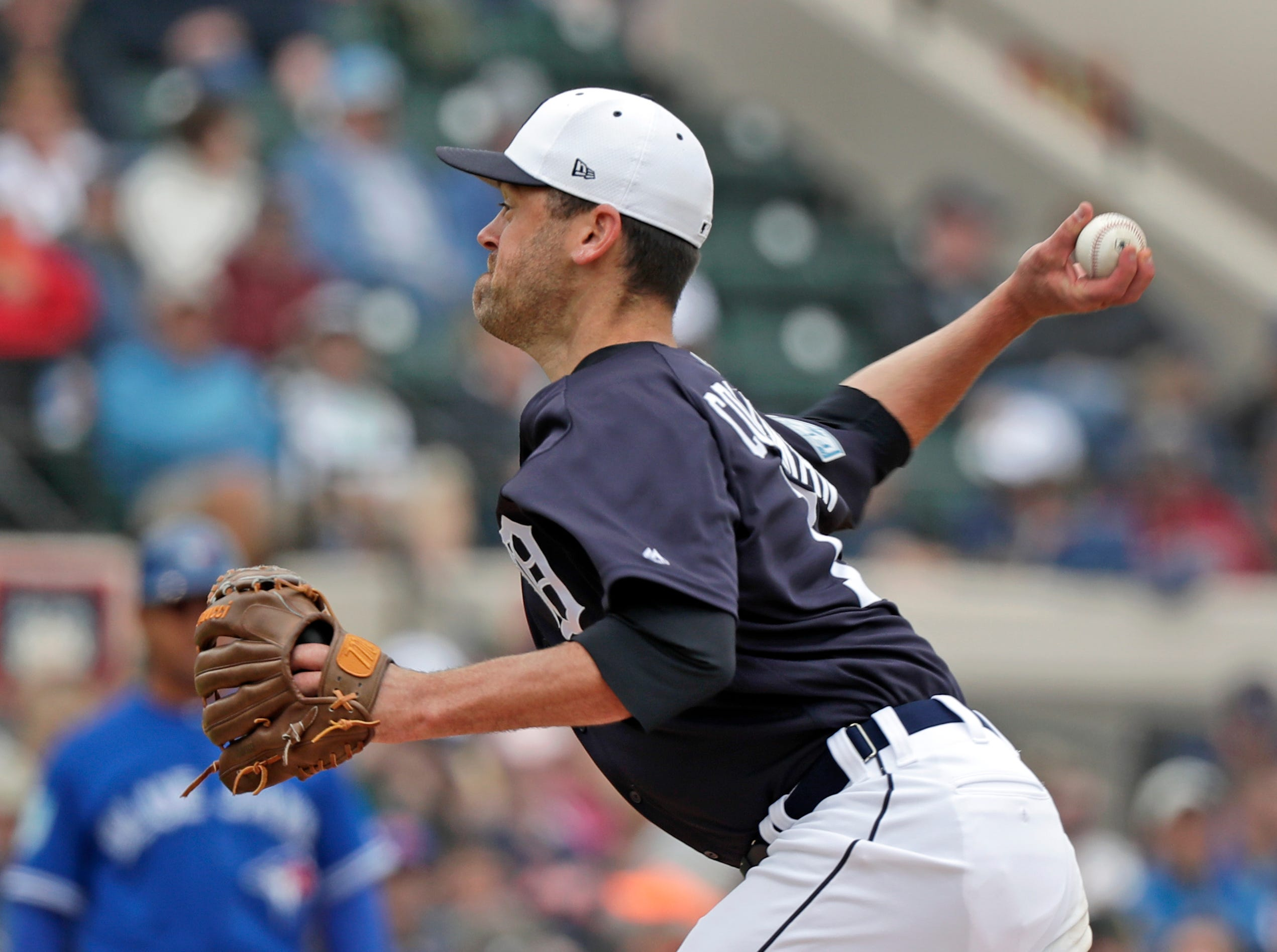 Detroit Tigers relief pitcher Louis Coleman throws against the Toronto Blue Jays in the fourth inning of a spring baseball exhibition game, Tuesday, March 5, 2019.Photo/John Raoux)
