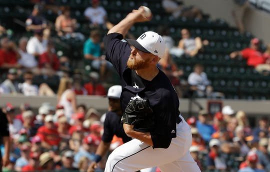 Tigers relief pitcher Reed Garrett fired a scoreless inning with two strikeouts Monday against the Cardinals.