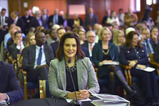 """Gov. Gretchen Whitmer presents her fiscal year 2020 budget proposal, called ˜The Road To Opportunity,"""" to lawmakers during a joint meeting of the House and Senate appropriations committees in the Senate Hearing Room in Lansing, Tuesday morning."""