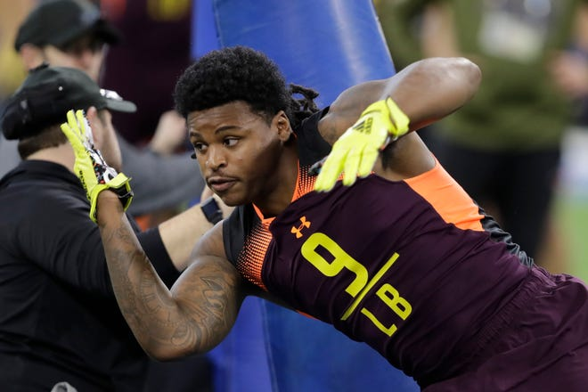 Michigan linebacker Devin Bush ran a 4.44-second 40-yard dash this week at the NFL combine in Indianapolis.