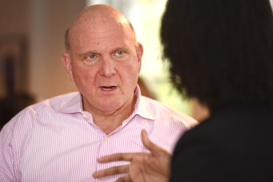 Former Microsoft Corp. CEO Steve Ballmer was born in Detroit in 1956. He led Microsoft from 2000 to 2014, maneuvering it through the dot.com crash.