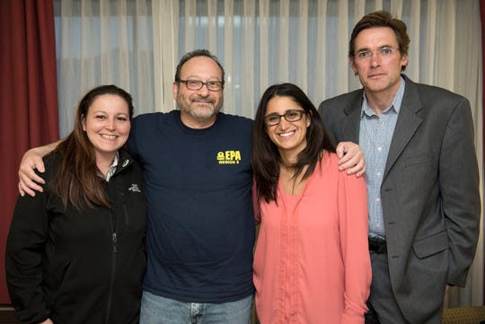 Lee-Anne Walters, Miguel Del Toral, Mona Hanna-Attisha and Marc Edwards, all instrumental in bringing the Flint water crisis to light,  pose for a photo in Grand Blanc outside Flint, MI, Friday, March 11, 2016.
