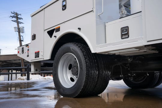 Upgraded wheels on the Ford F-600 Super Duty chassis cab.