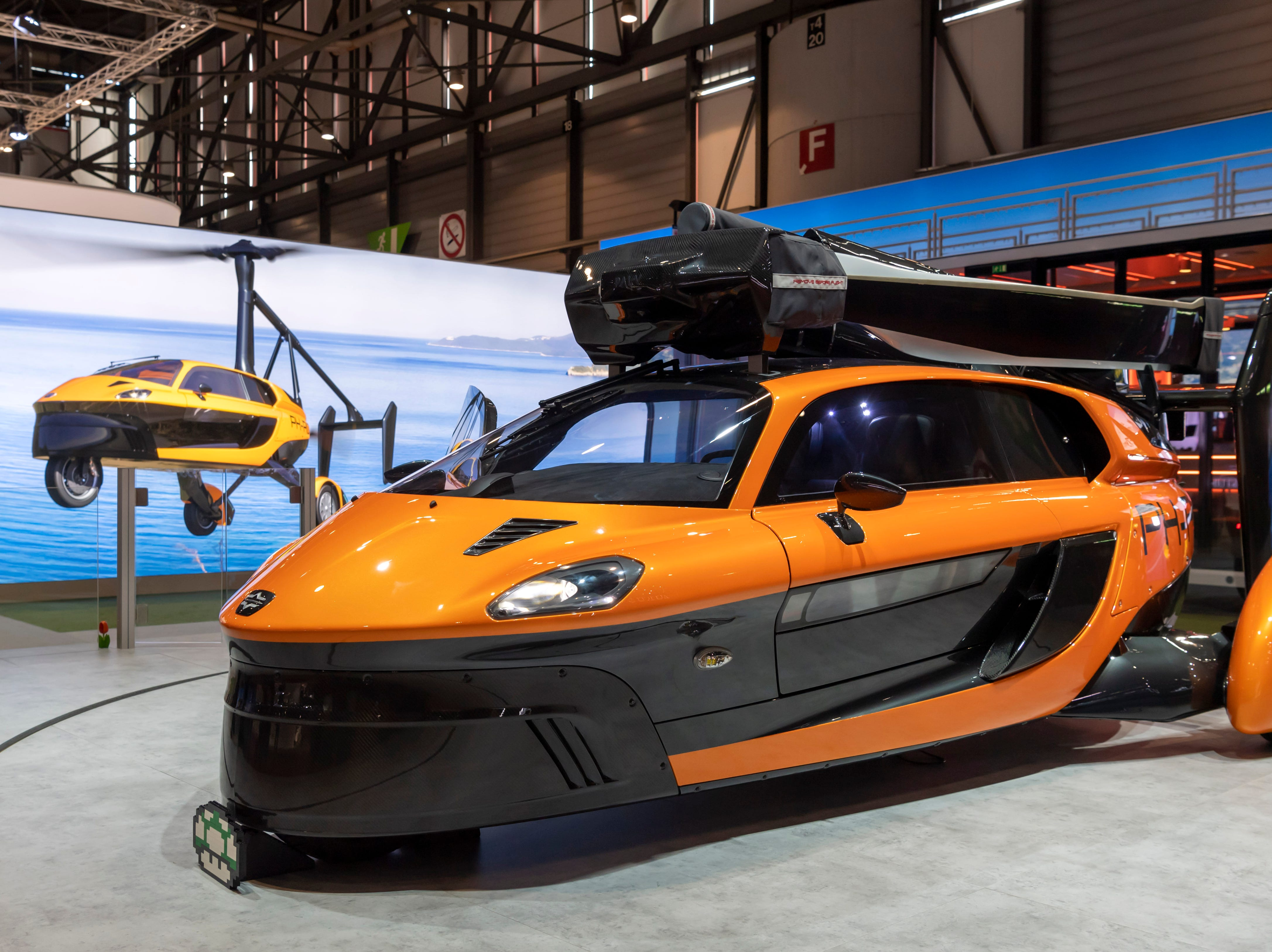 The new flying car PAL-V Liberty Pioneer Edition is presented at the show.