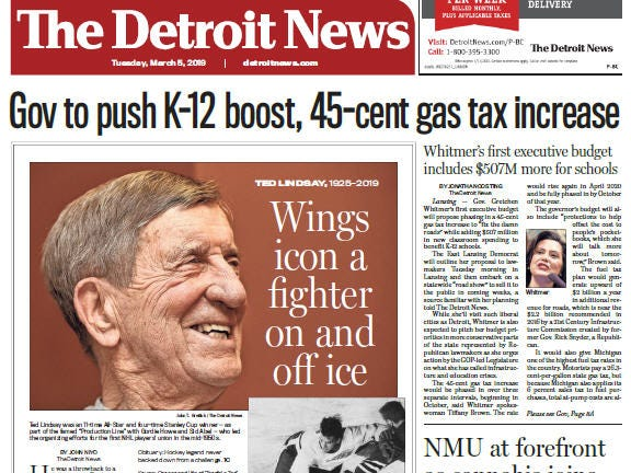 Front page of The Detroit News on Tuesday, March 5, 2019.