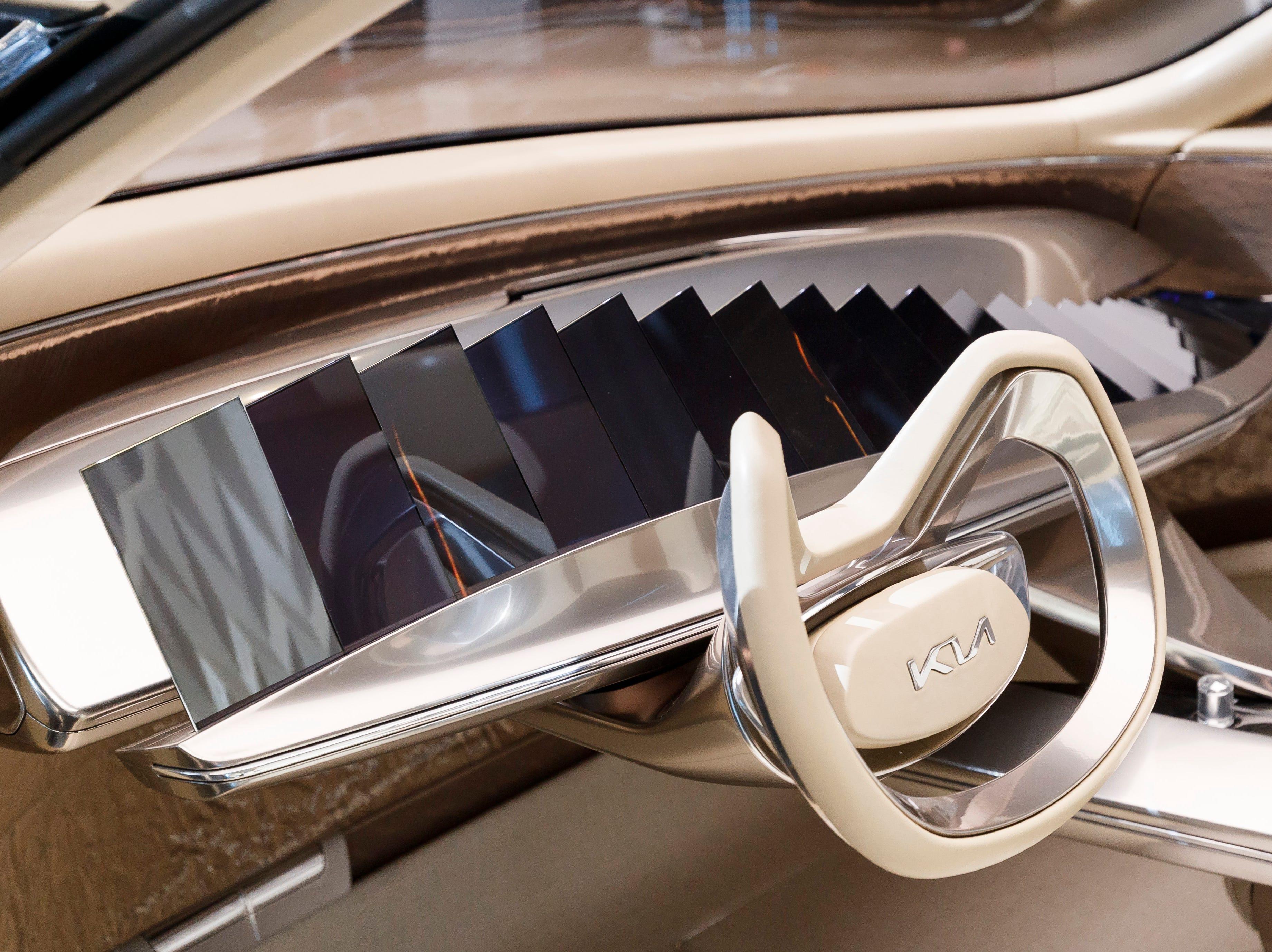 "The new Kia ""Imagin"" concept car has an unusual dashboard."