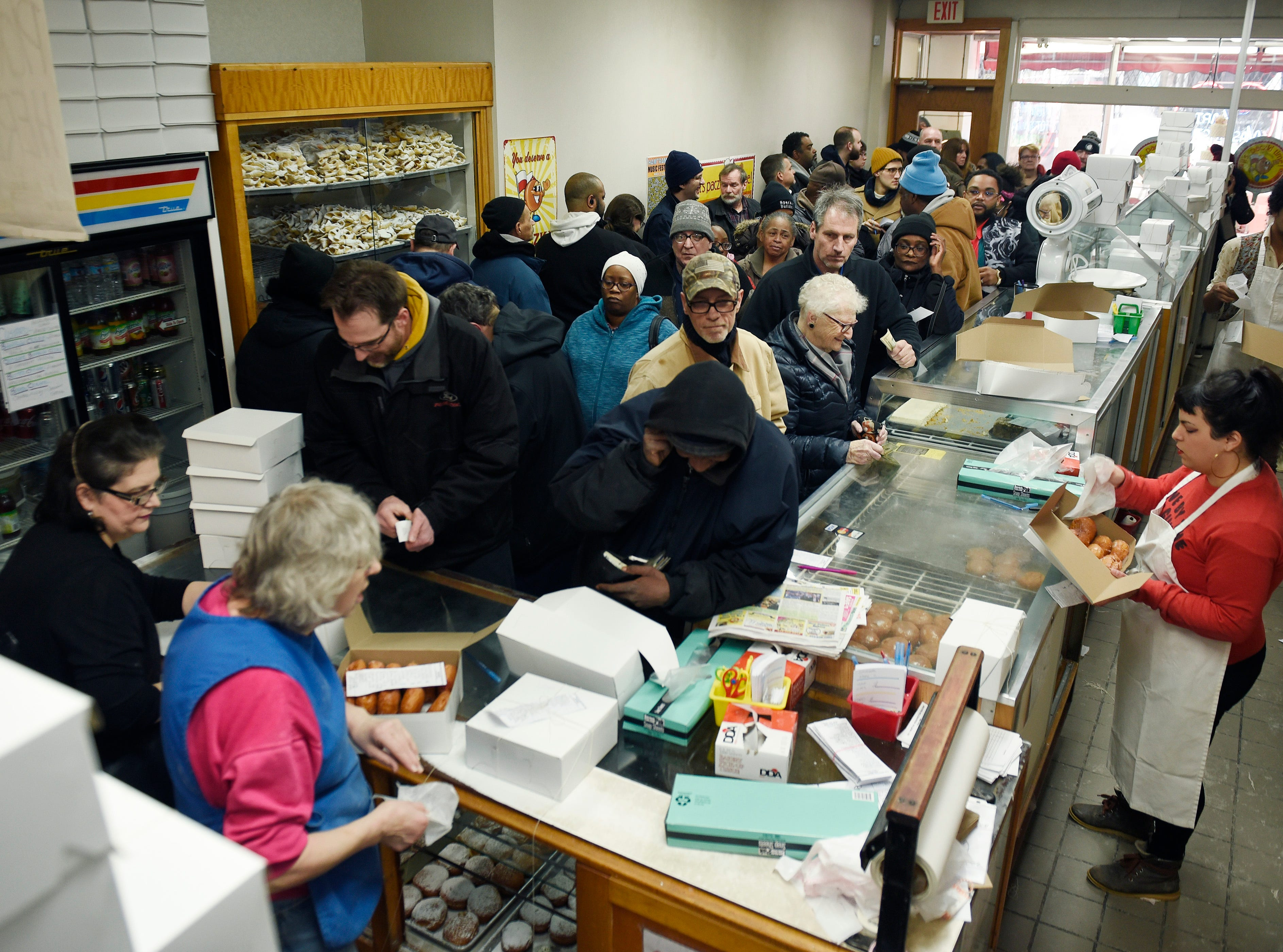 A large crowd came out to buy their paczki at New Martha Washington Bakery on Tuesday, March 5.