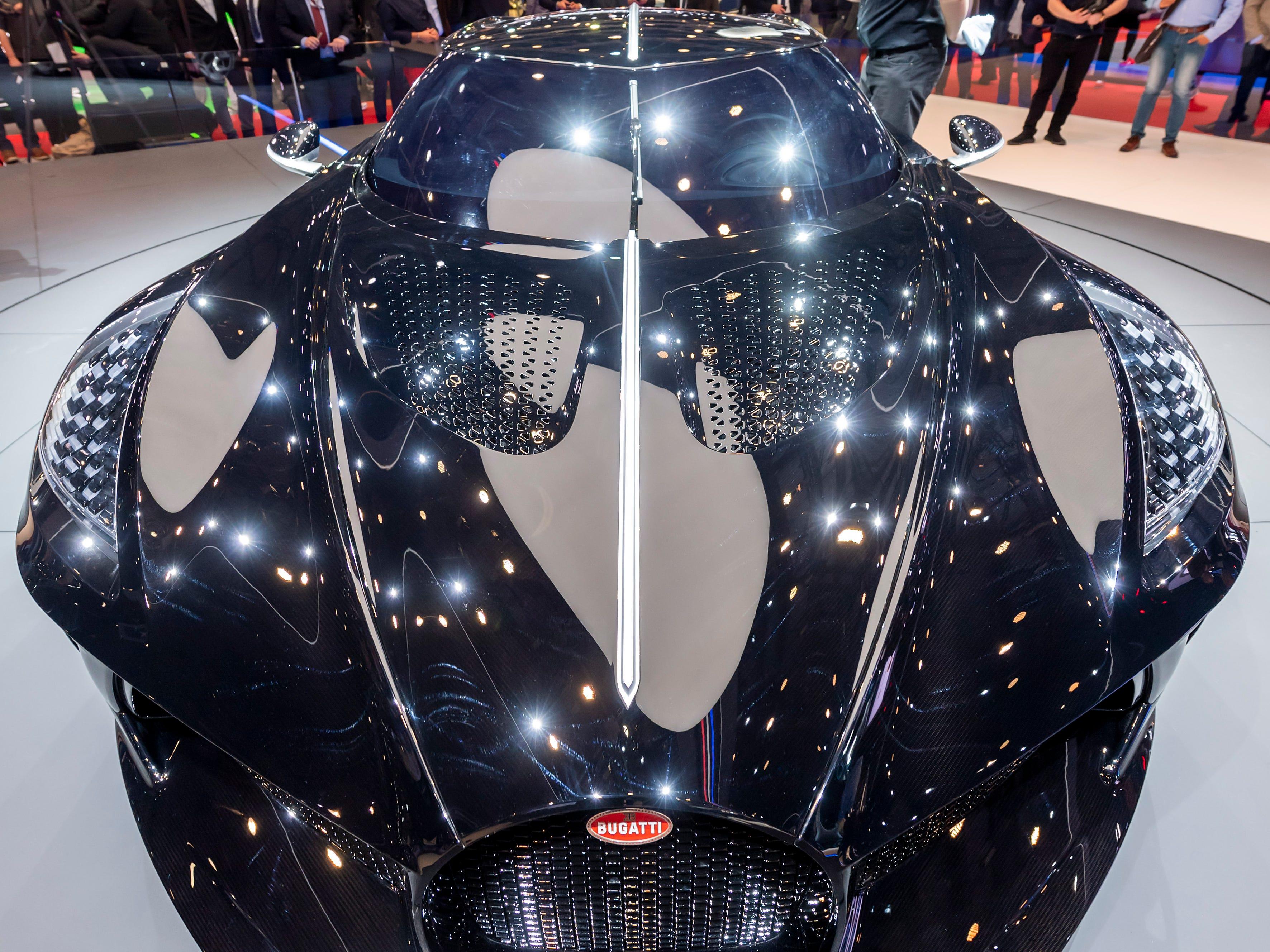 The new car Bugatti La Voiture Noire is on display in Geneva.