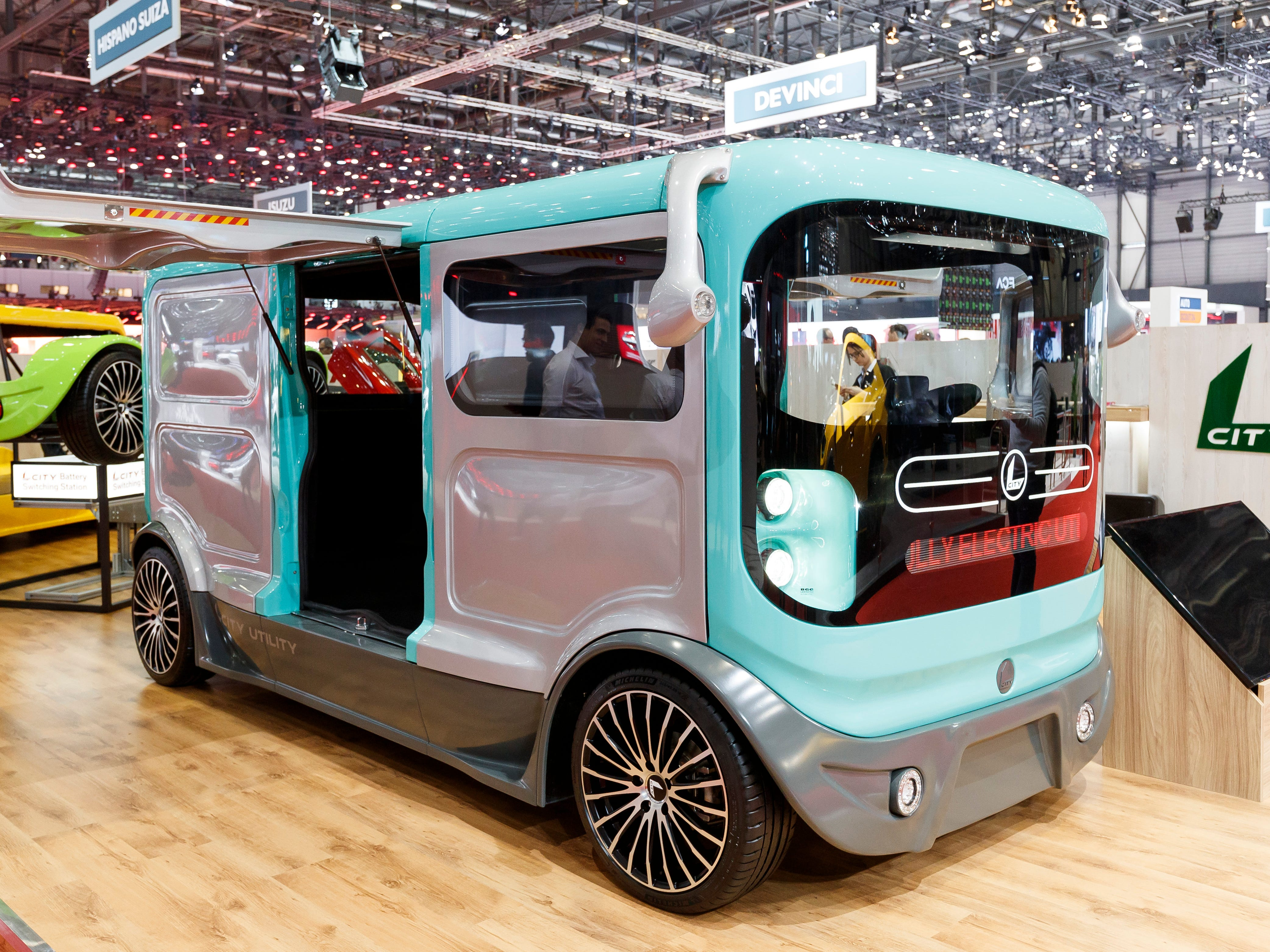 """The new Sin Cars """"L City"""" electric car is presented in Geneva."""