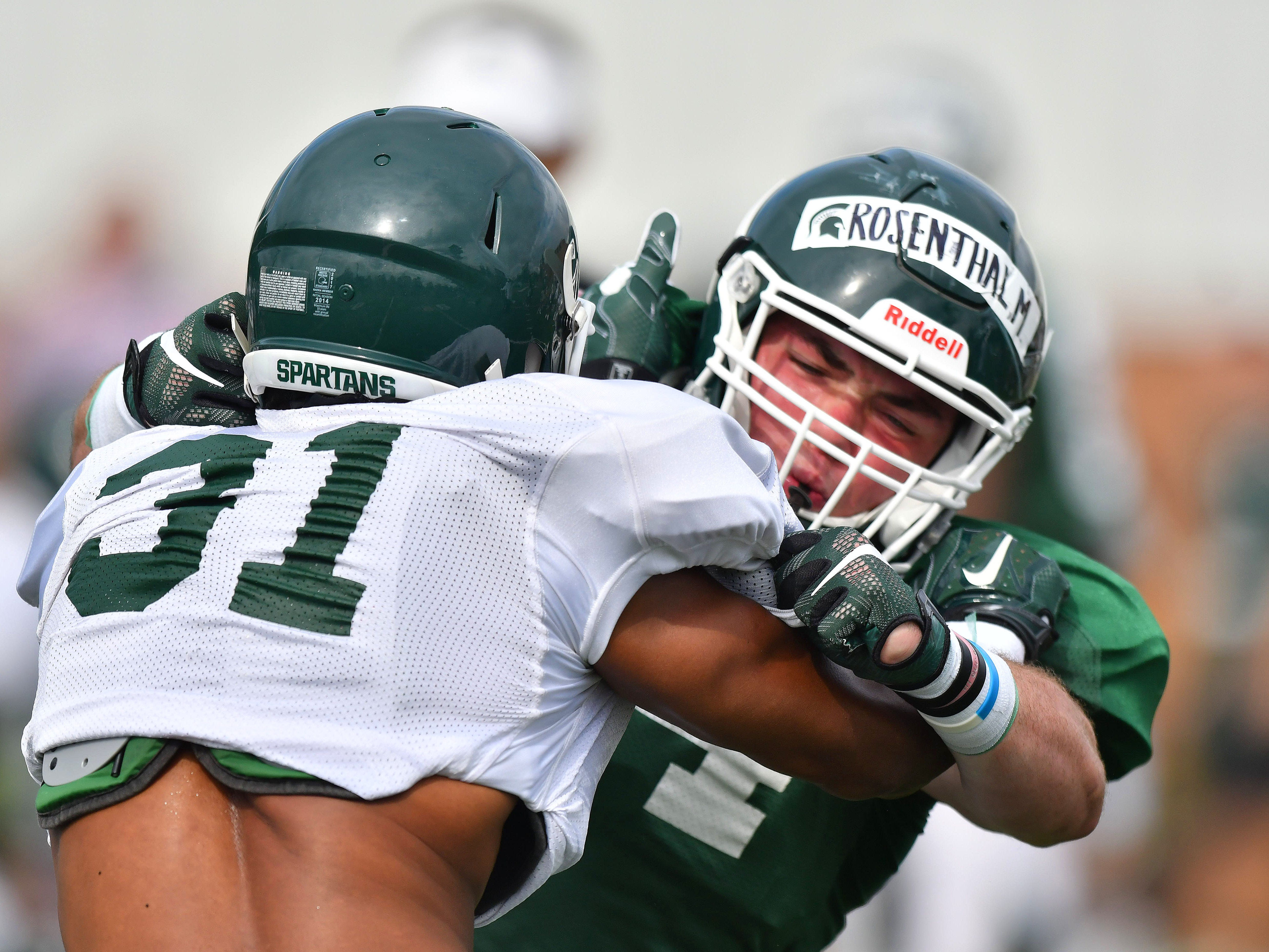 FULLBACK: Max Rosenthal – The Spartans use multiple-receiver sets more often than a fullback, but Rosenthal showed late last season he will be the main fullback moving forward after scoring his first career touchdown as a redshirt freshman.