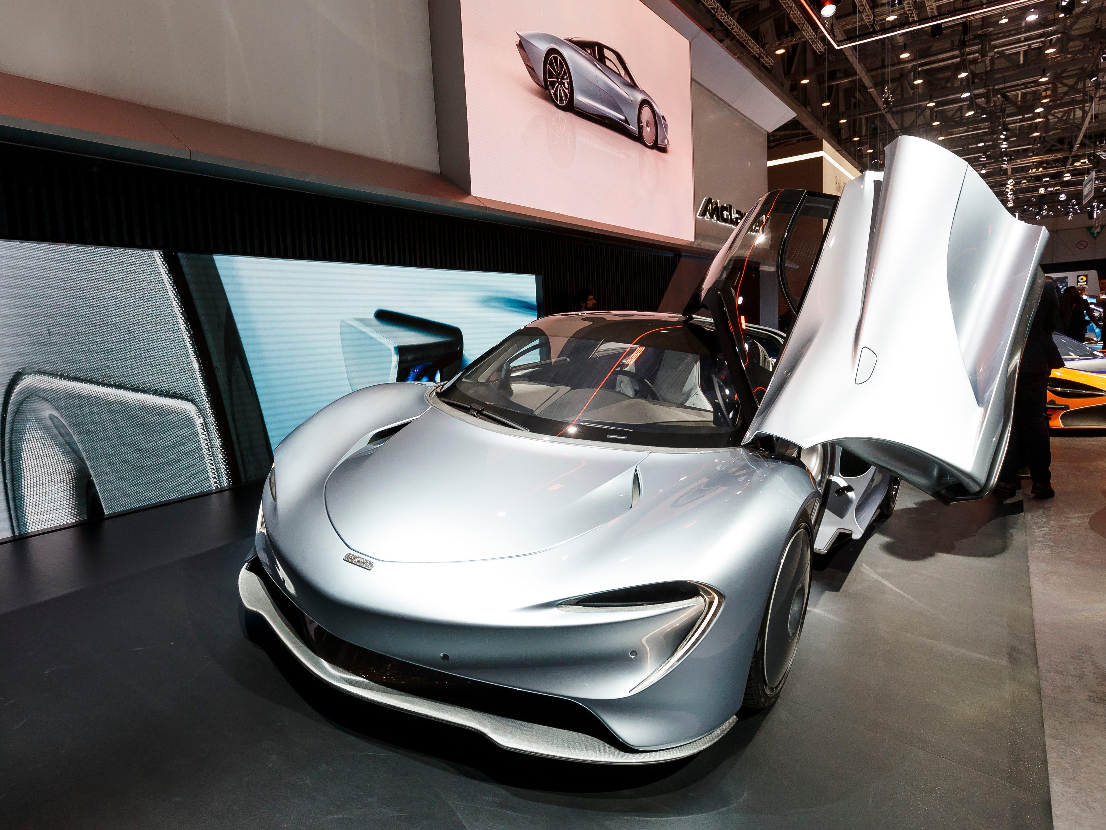 Doors lift upward on the new McLaren Speedtail concept car.