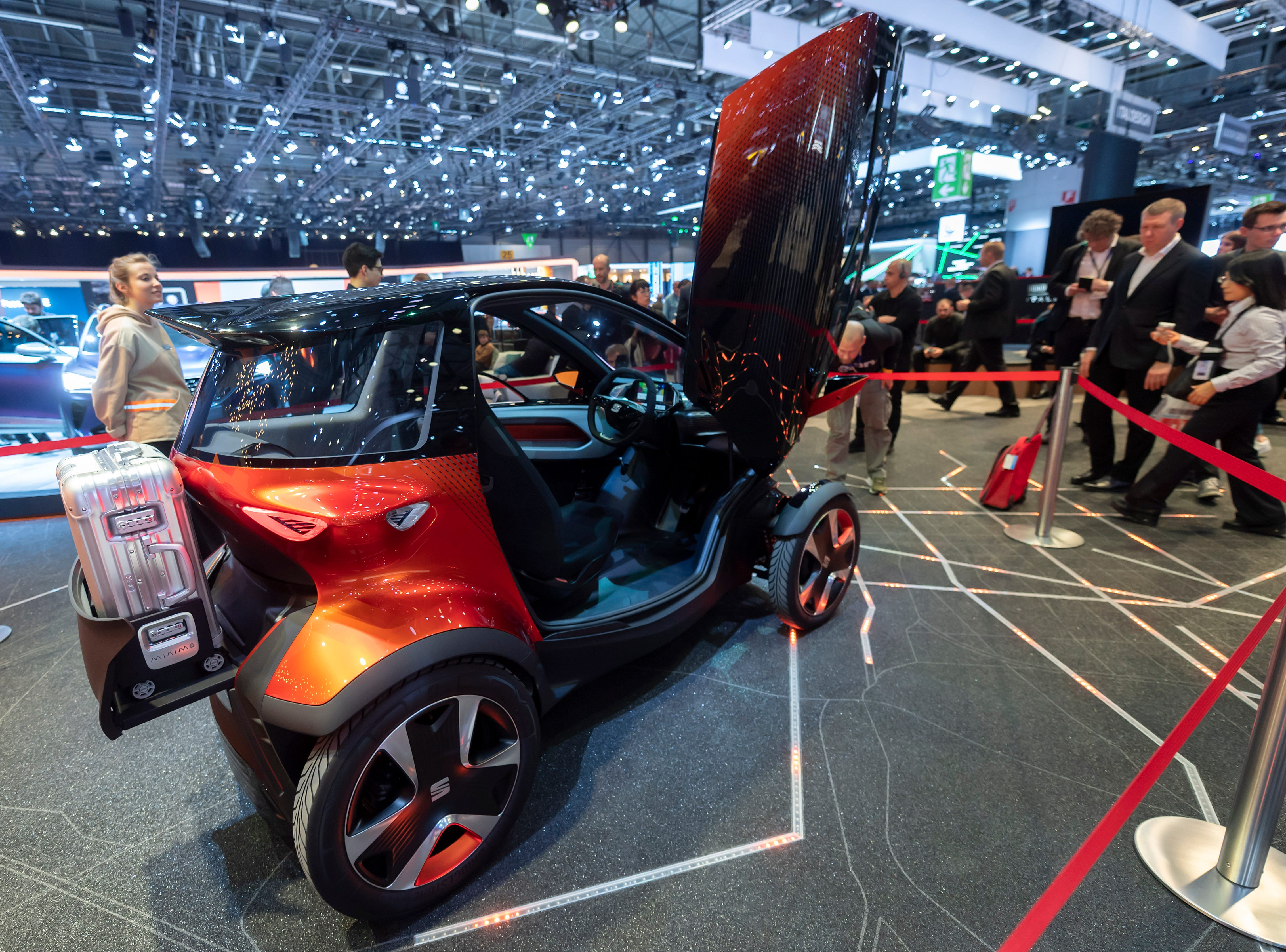 The Seat Minimo  mini-car attracts attention.