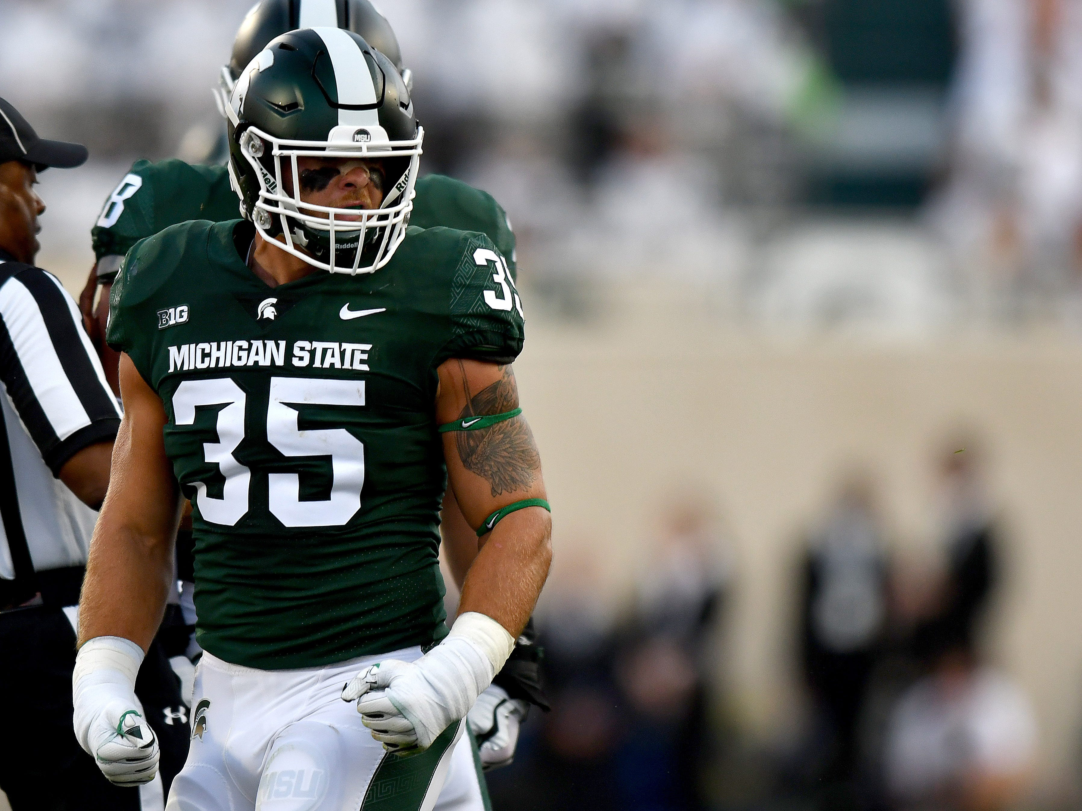 MIKE LINEBACKER: Joe Bachie – He opted to return for his senior season after recording 102 tackles and earning first-team All-Big Ten honors last season that resulted in Bachie being named MSU's top defensive player. He has 214 career tackles with four interceptions, seven pass break-ups and five forced fumbles.