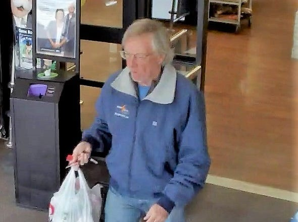 James Pruitt is shown leaving the Estes Park Safeway at 9:48 a.m. Thursday.