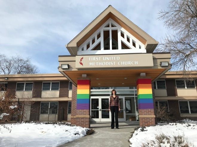 First United Methodist Church Lead Pastor Melanie Rosa stands in front of the church, located at 1005 Stover St. in Fort Collins, on Tuesday, March 5.