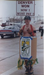Titletown Brewing co-founder John Gustavson wore a barrel and walked along Dousman Street in 1998 after losing a bet with John Hickenlooper over the result of Super Bowl XXXII. Hickenlooper founded Wynkoop Brewing in Denver and was a co-founder of Titletown.