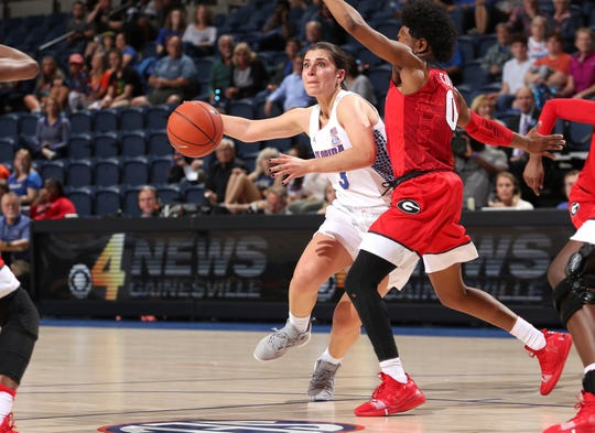 Funda Nakkasoglu (3), who has scored 2,000 career points, leads Florida into the SEC Women's Basketball Tournament at Bon Secours Wellness Arena.