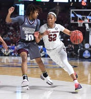 USC guard Tyasha Harris (52) was selected to the All-SEC second team.
