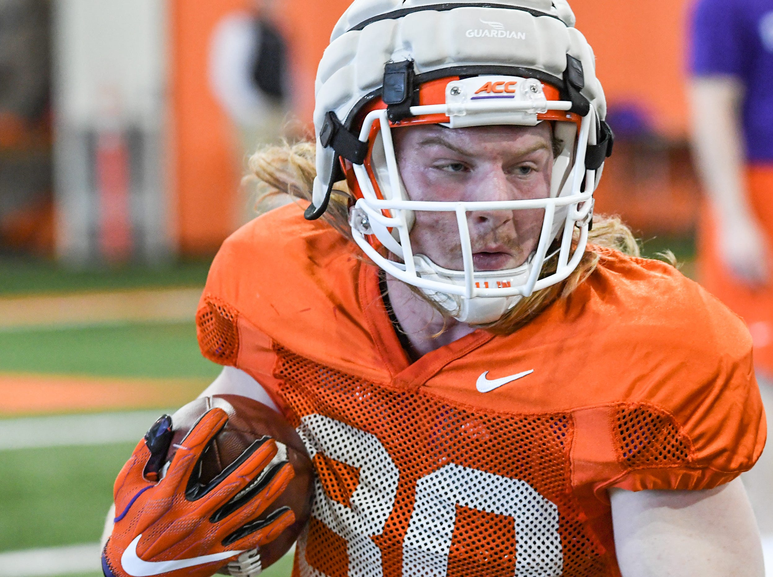 Clemson tight end Luke Price(80) runs after a catch during practice at the Poe Indoor Facility in Clemson Monday.