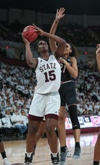 Teaira McCowan (15), a 6-7 post for Mississippi State, was selected the SEC Player of the Year.