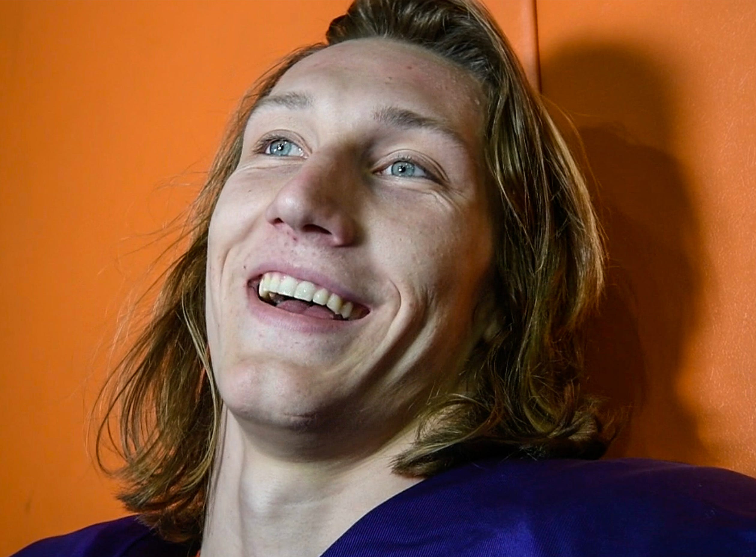 Clemson quarterback Trevor Lawrence speaks with media after practice at the Poe Indoor Facility in Clemson Monday.