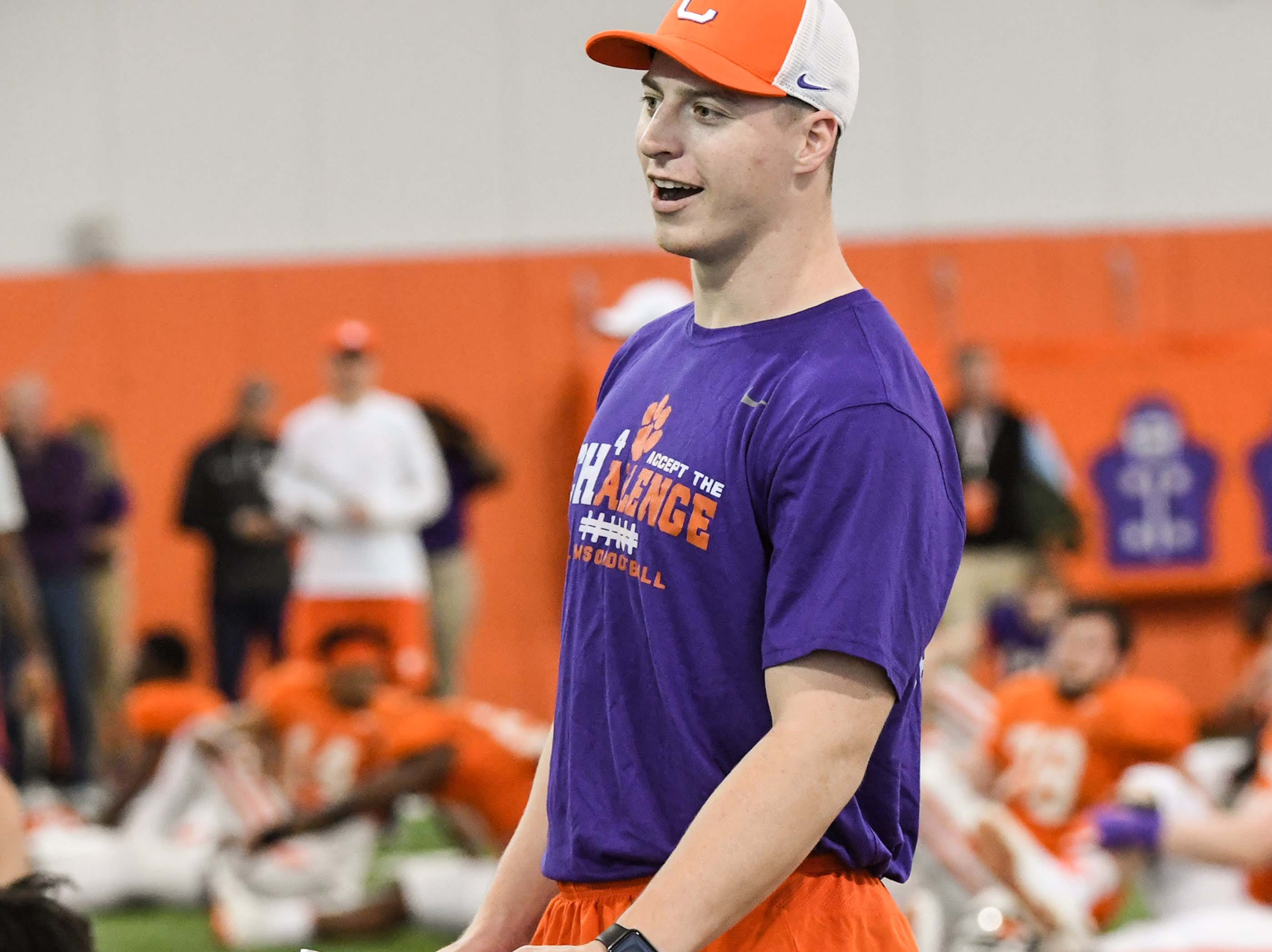 Garrett Williams, former tight end, helps as a coach during practice at the Poe Indoor Facility in Clemson Monday.