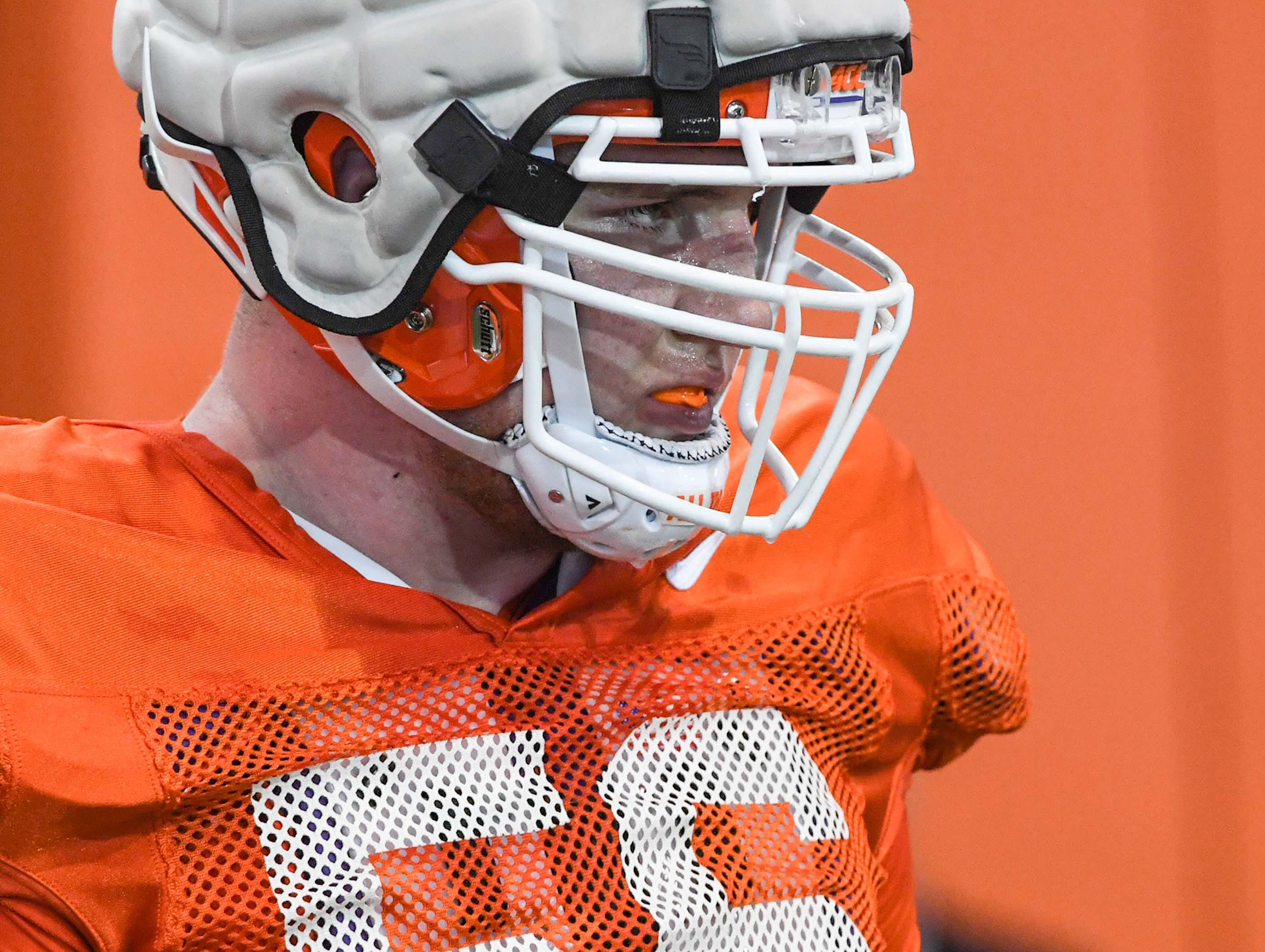 Clemson offensive lineman Will Putnam gets ready for the next drill during practice at the Poe Indoor Facility in Clemson Monday.