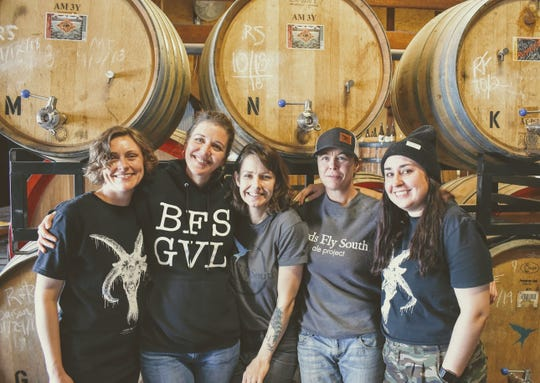 The team behind Birds Fly South Ale Project's Sonita beer, from left Andrea Fricks-Dorman, Lindsay Johnson, Ames Cashin, Cat McConachie, and Britt Mann.