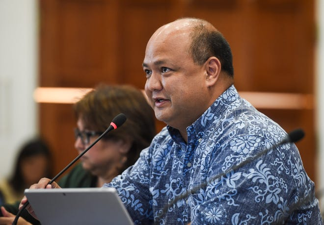 Guam Department of Education Superintendent Jon Fernandez speaks during a budget hearing at the Guam Congress Building in this PDN file photo.