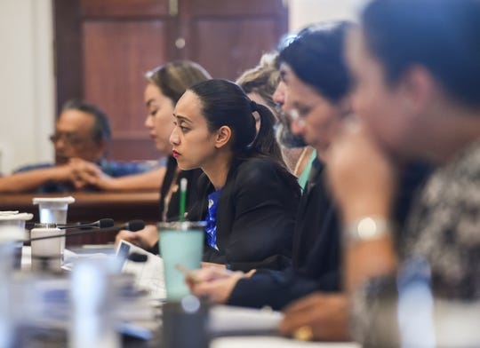 Sen. Regine Biscoe Lee during a Guam Department of Education budget hearing at the Guam Congress Building on March 5, 2019.