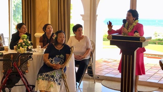 Gov. Lou Leon Guerrero delivers remarks for representatives of women's organizations on Guam Tuesday morning at the Government House in Agana Heights, right before signing a proclamation declaring March Women's History Month.