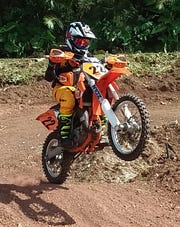 Wyett Santos grabbed a second place Sunday in the 65cc Kids Minibike Class.