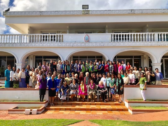 Gov. Lou Leon Guerrero joins leaders and representatives of women's organizations on Guam Tuesday morning at the Government House in Agana Heights, after signing a proclamation declaring March Women's History Month.
