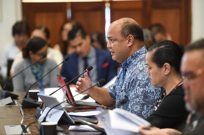 Guam Department of Education Superintendent Jon Fernandez speaks during a budget hearing at the Guam Congress Building on March 5, 2019.