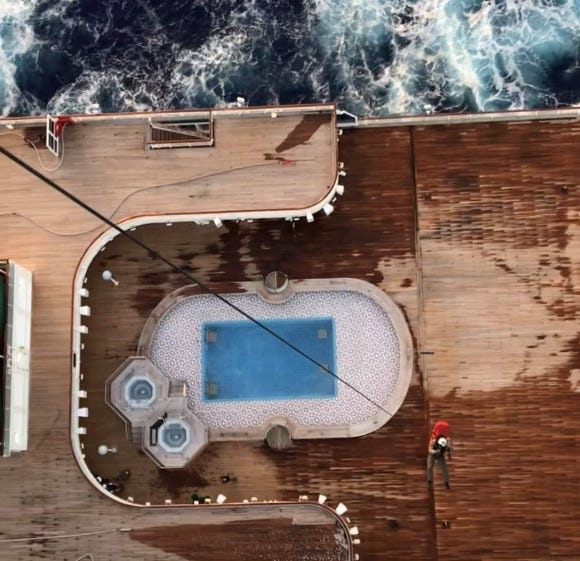 Sailors rescue distressed cruise ship passenger