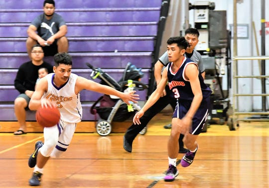 IIAAG High School Boys Basketball playoff action at the GW gym, where the Okkodo Bulldogs won big, 75-33 to advance to the semifinals against the Saint Paul Christian School Warriors on Friday.