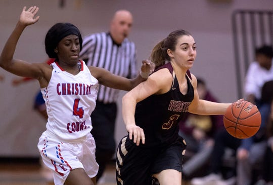 Webster County's Karlie Keeney (3) eludes her defender Christian's Kinara Phillips (4) during the Girls Region Tournament semifinals at the Rocket Arena in Marion, Ky., Monday night.