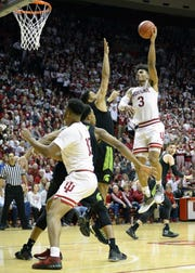 Hoosiers forward Justin Smith (3) scored a career-high 24 points against Michigan State.