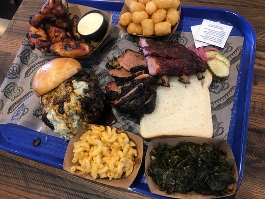 Barbecue is served on paper laid in a tray, Texas-style, at Half Liter BBQ, 5301 Winthrop Ave., Indianapolis. The restaurant opened March 4, 2019 south of Broad Ripple.