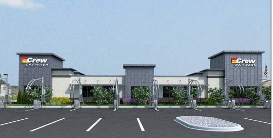 Rendering of proposed Crew Carwash at 116th Street and Cumberland Road in Fishers