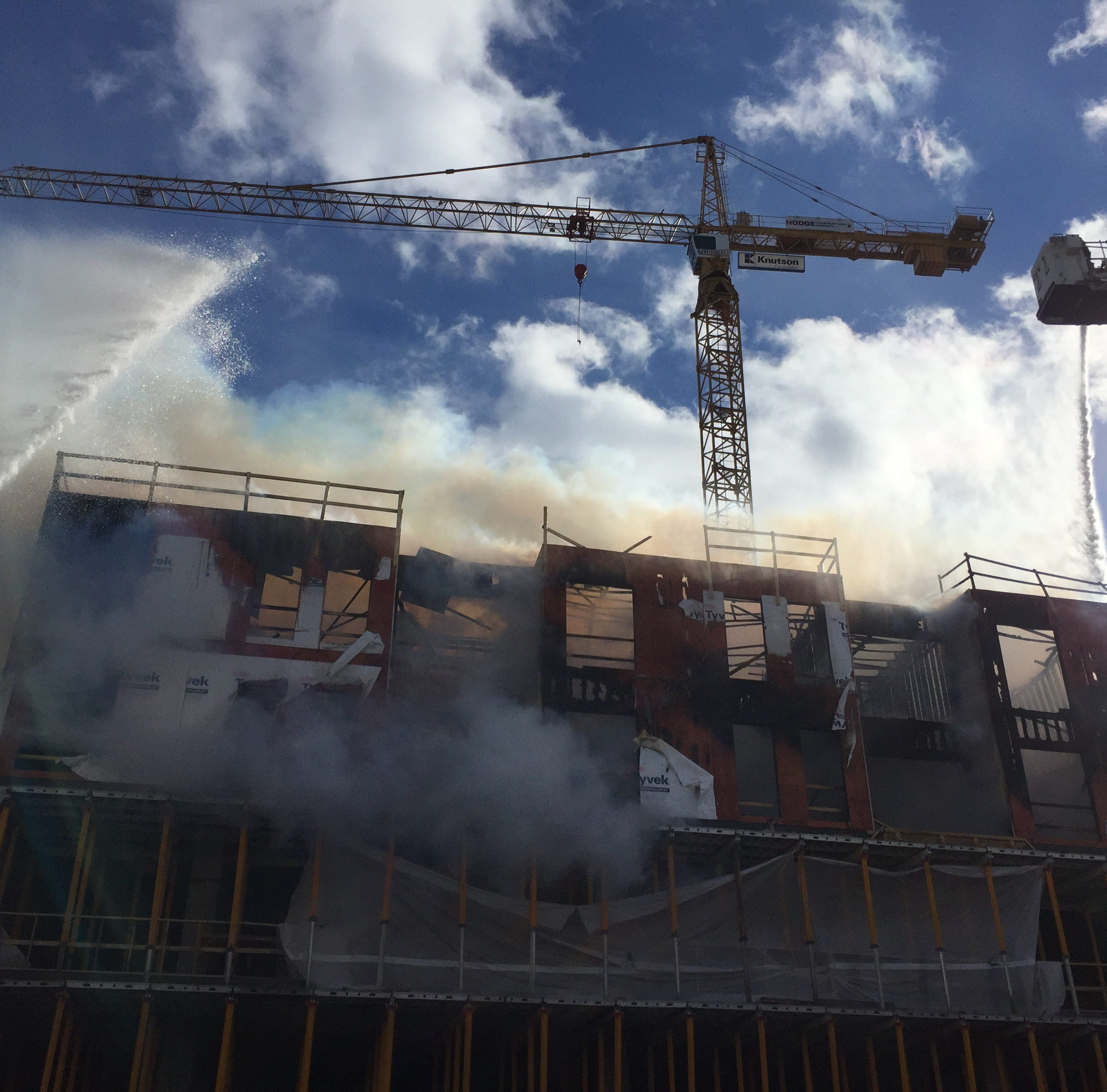 Fire breaks out on Hieronymus Square construction site in downtown Iowa City