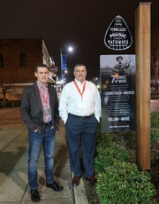Owners of the Princess Theatre, Wes Watts and his father, David Watts, stopped for a photo in front of the Tennessee Music Pathways marker placed in front of the theatre in honor of Lexington native Buddy Cannon on Saturday, March 2, 2019.