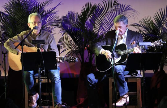 """Buddy Cannon and """"Whispering"""" Bill Anderson sang George Strait's hit """"Give It Away""""  on the stage of the Princess Theatre during the Tennessee Music Pathways Songwriters event on Saturday, March 2, 2019 in Lexington."""