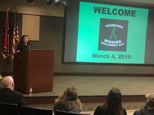 Jonnie Carter tells the story of when her daughter, Bethany Markowski, disappeared 18 years ago. Carter spoke at the Tennessee missing children's vigil at Jackson-Madison County General Hospital on March 4, 2019.
