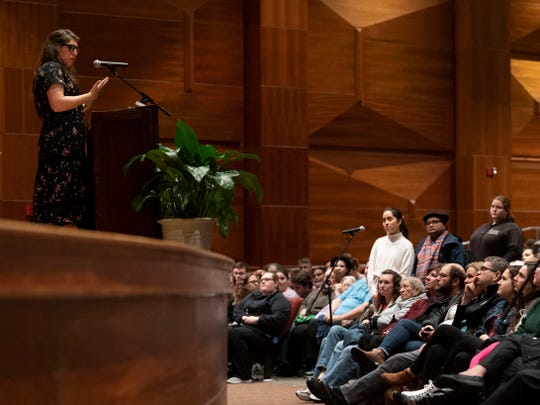 """Mayim Bialik answers questions from the crowd at the University of Tennessee's Cox Auditorium on Monday, March 4, 2019. Bialik has a PhD in neuroscience and is known for her roles in the television shows """"Blossom"""" and """"The Big Bang Theory."""""""