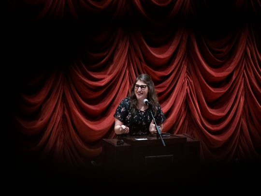 Mayim Bialik speaks at the University of Tennessee's Cox Auditorium on Monday, March 4, 2019 as part of the Mossman Distinguished Lecture Series.