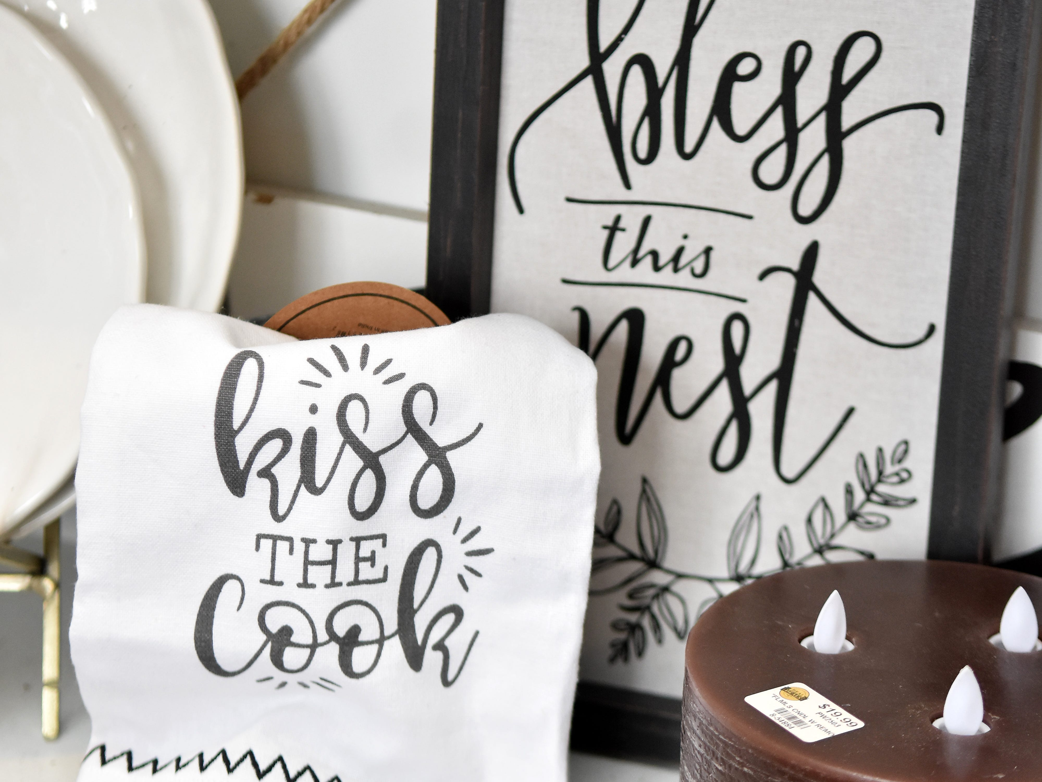 Black and white accessories add a clean, fun look to the kitchen.