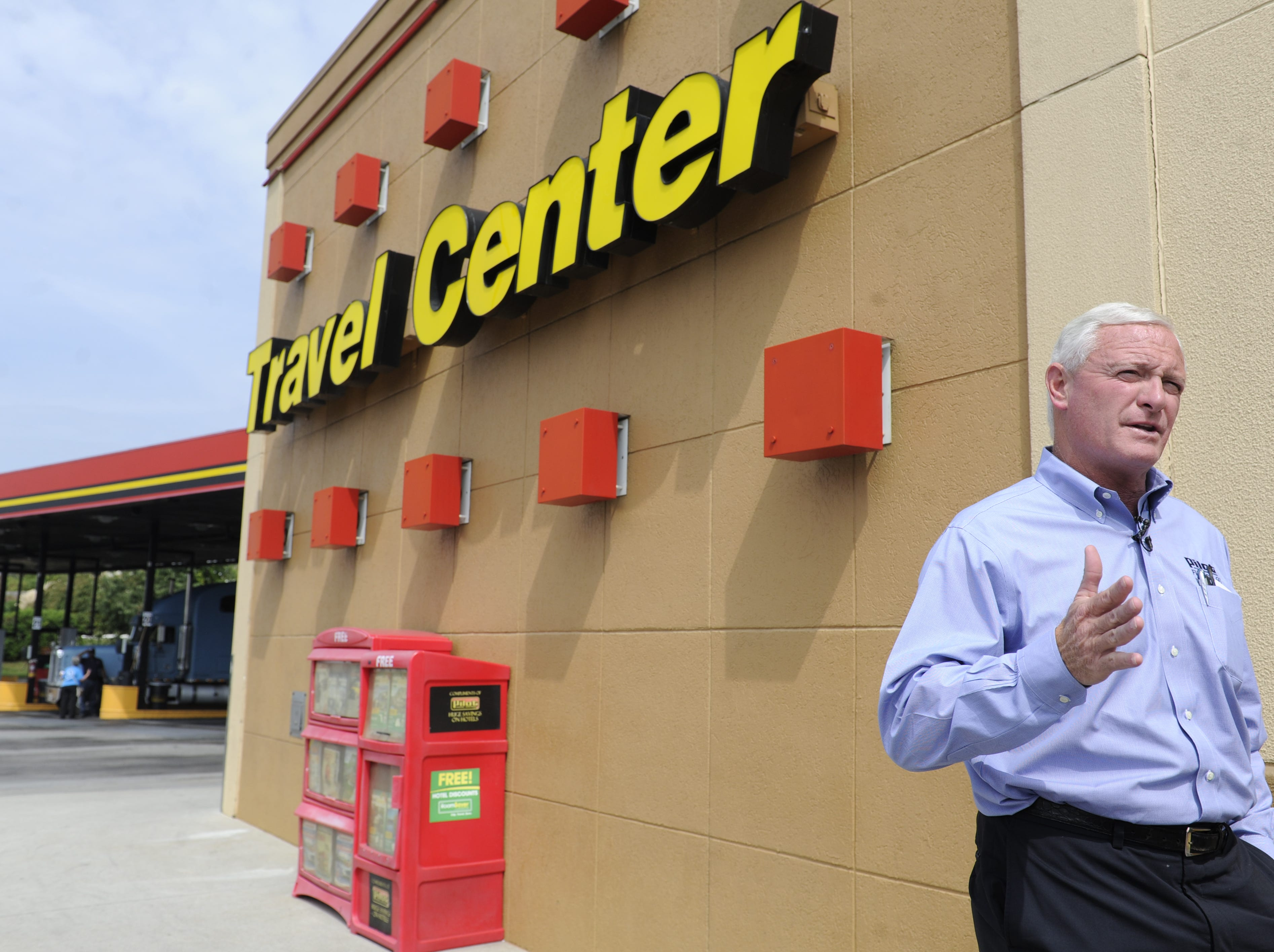 """Pilot CEO Jimmy Haslam visits the Pilot Travel Center off Lovell Road, Tuesday, Sept. 14, 2013. Pilot declared September """"Driver Appreciation Month"""", Mr. Haslam visits stores and greets customers three days a week."""