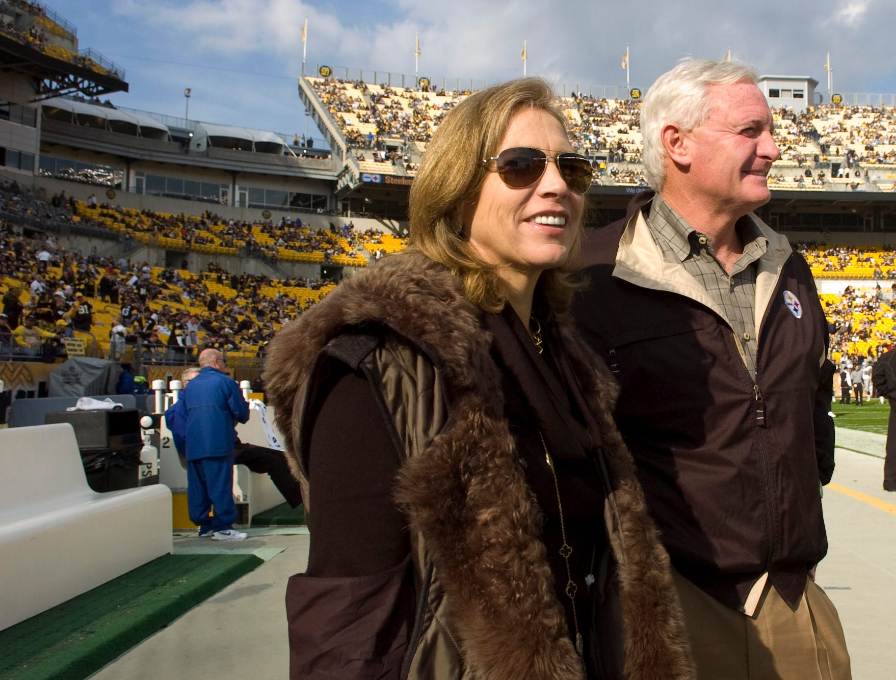 Jimmy Haslam and his wife, Dee, talk before the Pittsburgh Steelers and the Oakland Raiders game Nov. 21, 2010 in Pittsburgh, Penn. Jimmy Haslam became a partner in the Pittsburgh Steelers in 2008.