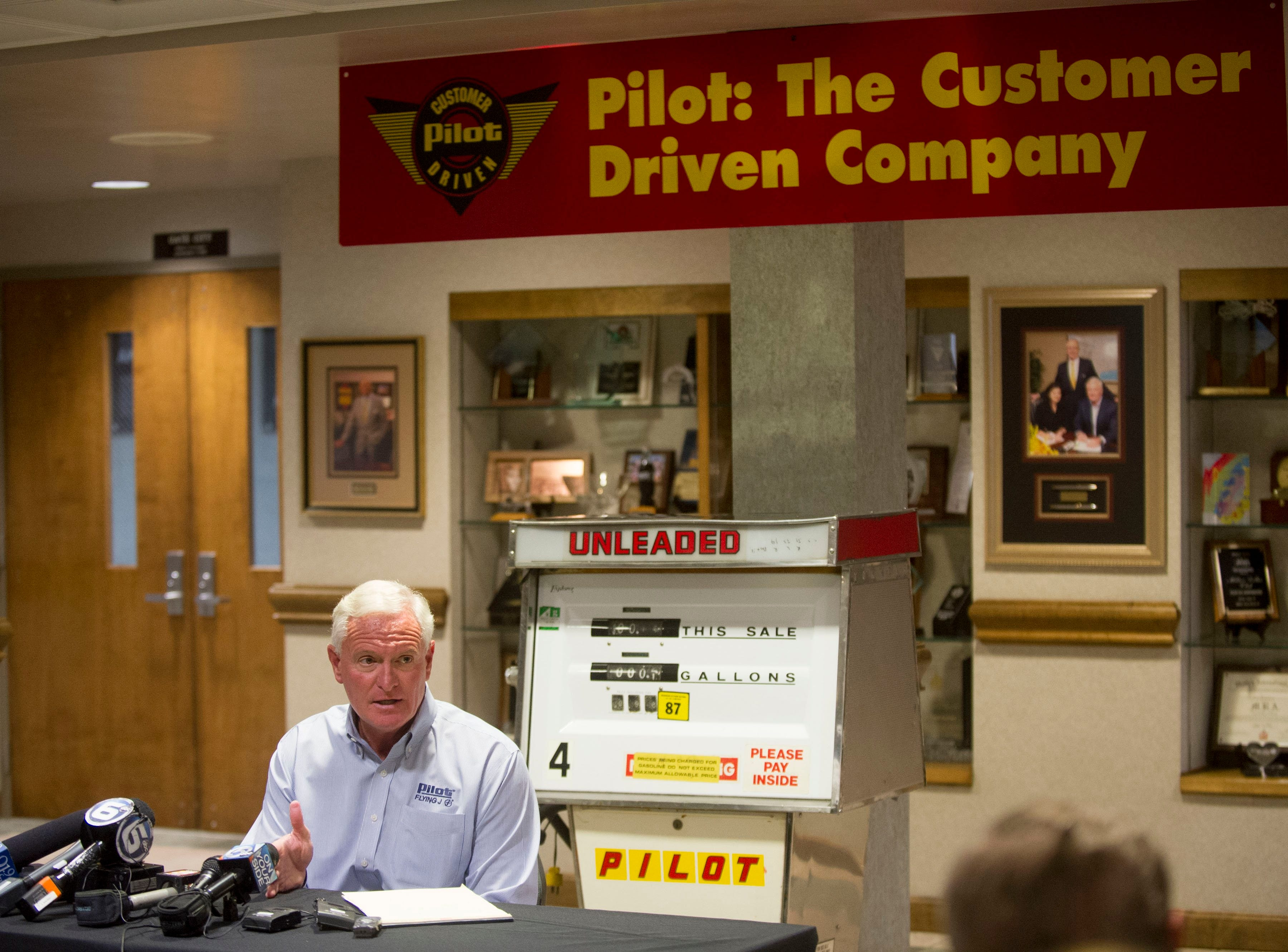 Pilot Flying J CEO Jimmy Haslam updates the public about recent changes to the company in response to the federal investigation regarding the manual rebate scandal at the Pilot Flying J  headquarters on Monday, September 30, 2013.